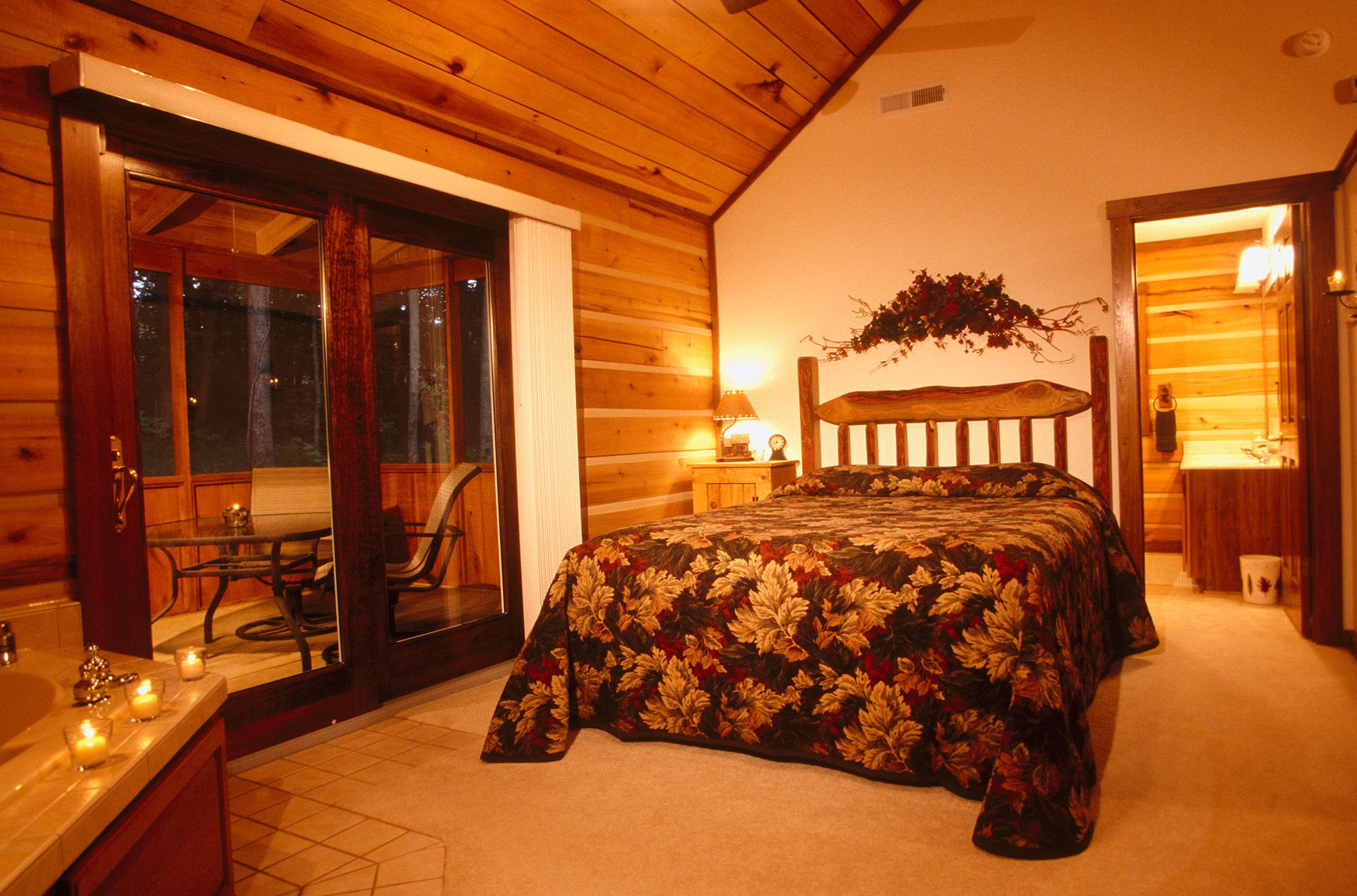 Bedroom area at Cabins & Candlelight
